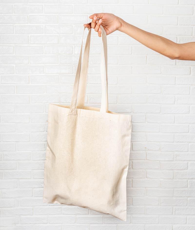 Werbetaschenonline Hand mit weißer natur Tasche Werbetasche, Tote Bag